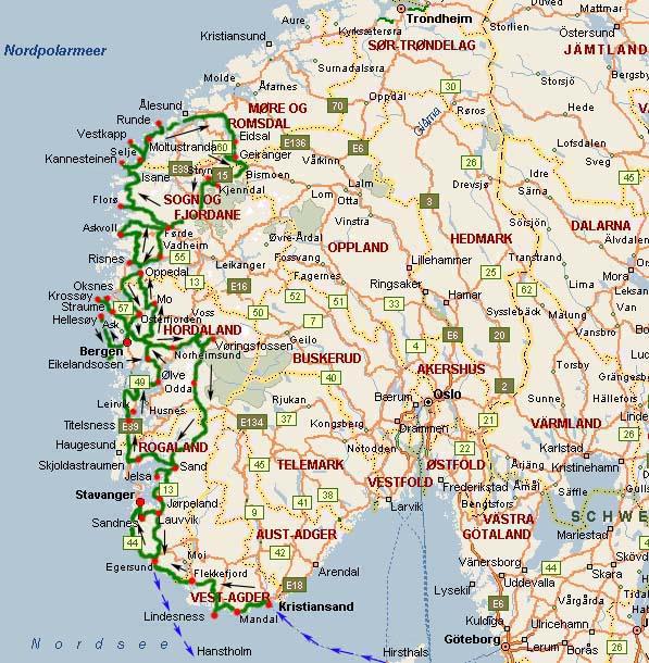 Cartina Norvegia Stradale.Nostri Viaggi 1999